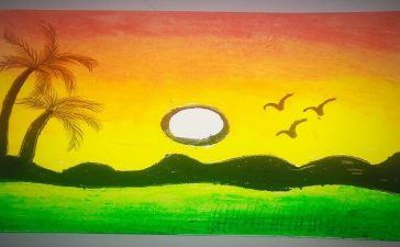 sunset with palm trees Drawing